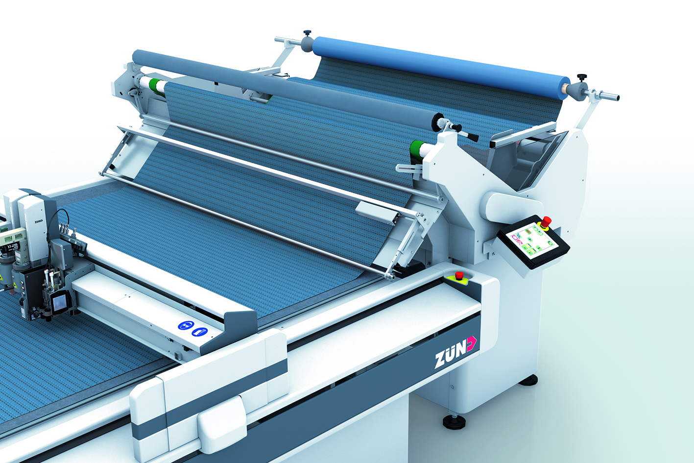 Advancing rolled textiles without a wrinkle:  Zünd introduces cradle feeder